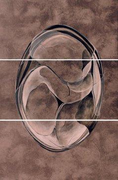 Sección. Acrílico, rotulador sobre tejido. 62 x 120 cm (x3)